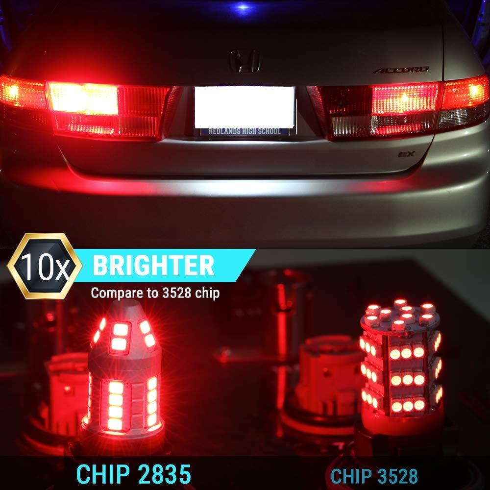 1157 Syneticusa Red Flashing Strobe Blinking Rear Alert Safety Brake Tail Stop High Power LED Light Bulbs