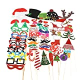 TinkSky 62pcs New Year Photo Booth Props Funny DIY Favor