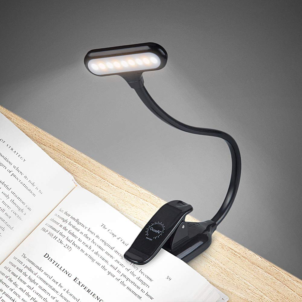 OCOOPA LED Klemmleuchte Leselampe, Wiederaufladbar LED Leseleuchte, Tragbare und Dimmbares Leselicht, 360° Flexibel Schreibtischlampe mit Clip und USB-Kabel