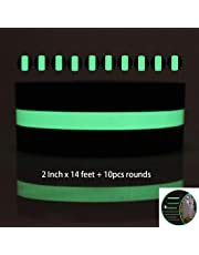 Indoor Outdoor Safety Luminescent Glow in The Dark Glow Anti Slip Grip Tape - 2 Inch x 14 Feet - Abrasive Adhesive Luminous Dark Non-Slip Anti Slip Tape for Stairs,Steps,Floor