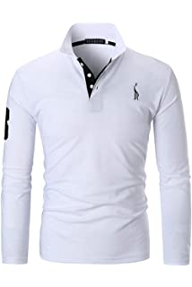 YCUEUST Homme Cotton Giraffa Polo Manches Longues Casual Mode Tennis T-Shirt 2976566ac1a1