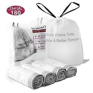 WOSOVO Small Trash Bags Drawstring 2.6-4 Gallon