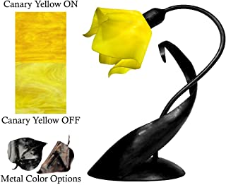 product image for Jezebel Radiance Lazy Daisy Lamp. Hardware: Black. Glass: Canary Yellow, Flame Style