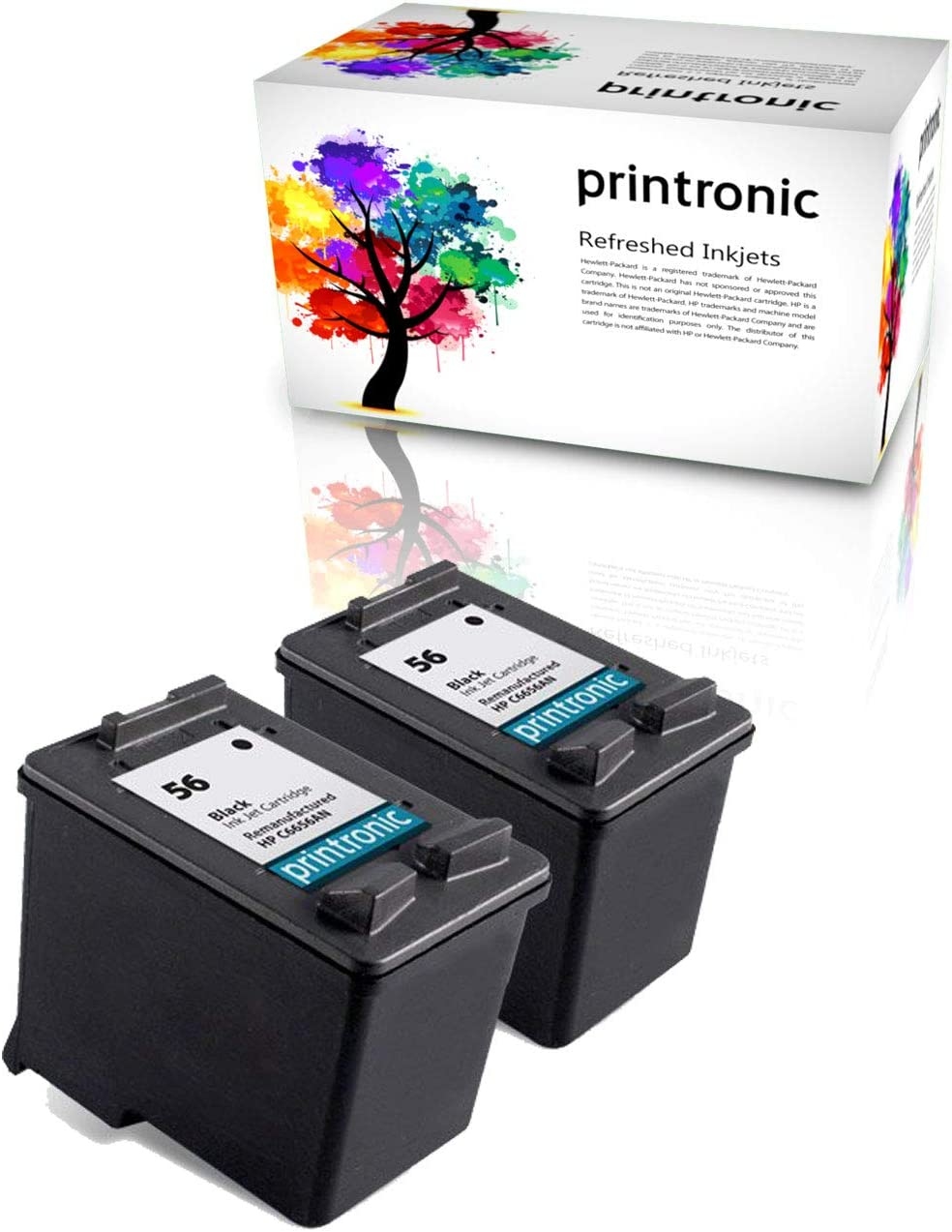 Printronic Remanufactured Ink Cartridge Replacement 2 Pack for HP 56 for Deskjet 5850 9650 OfficeJet 4110 5505 PhotoSmart 7150 7550 PSC 1317 1205 2100 2510 (2 Black)