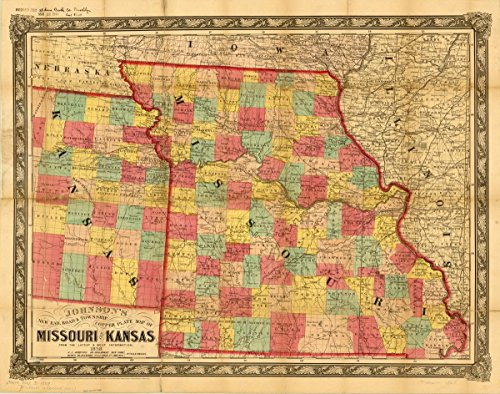 Historic Map   Missouri 1858   Johnson's New Rail Road & Township, Copper Plate map of Missouri and Kansas from The Latest & Best Information.   Antique Vintage Reproduction 44in x 35in