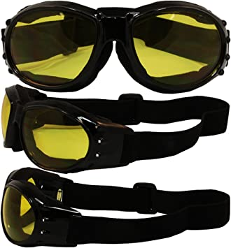 Motorcycle Goggles Glasses Vented Dust Wind UV Sand Brown Red Yellow