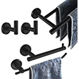 JQK Bathroom Hardware Set, 5-Piece Bath Accessories Set Matte Black Wall Mount Includes 24 in Towel Bar, 9 in HT Bar, TP Hold