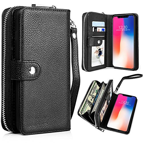 Zipper Detachable Strap (iPhone X Case, iPhone X Wallet Case, Pasonomi Magnetic Detachable Removable Wallet Zipper PU Leather Folio Flip Carrying Case with Strap and Credit Card Slot for iPhone X / iPhone 10 5.8