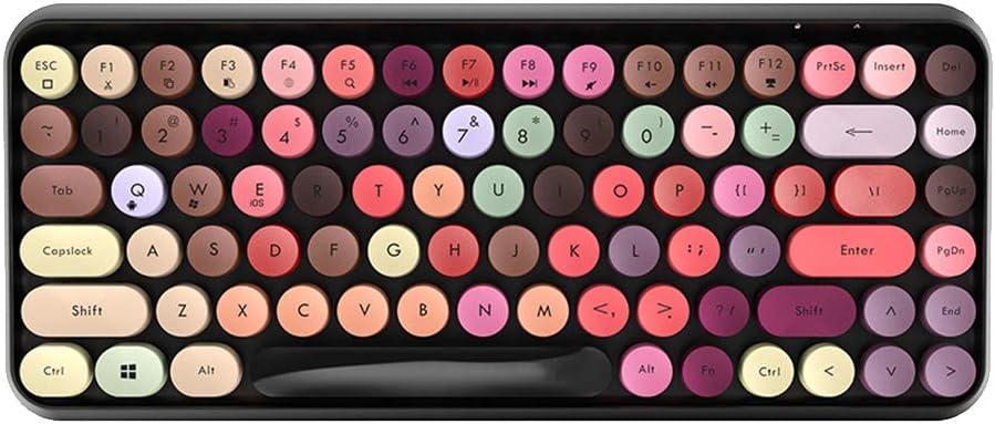 ER-NMBGH 308i Clavier sans Fil Bluetooth, 84pcs Chocolat Bouton clé Clavier, Ronde Touche Cap Gaming Clavier pour PC Yellow