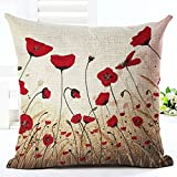 Decorative Pillow Cover - Charming Red poppy Throw Pillow Case Cushion Cover Decorative Cotton Blend Linen Pillowcase for Sofa 18