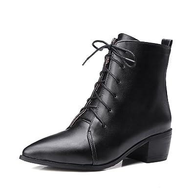 AllhqFashion Damen Schnüren Spitz Zehe Blockabsatz PU Leder Mitte-Spitze Stiefel, Silber, 42