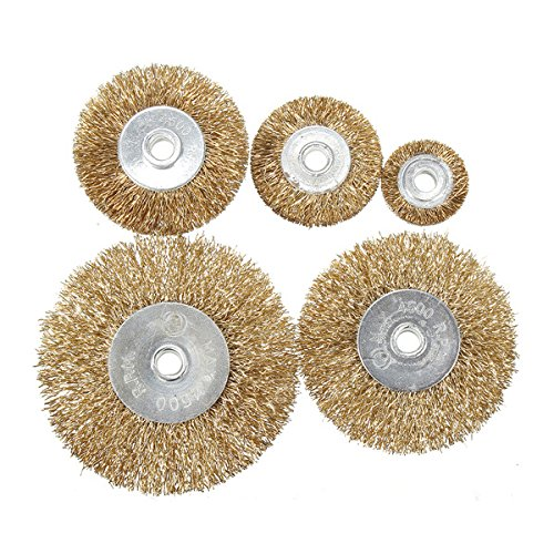 8pcs Flat Mini Brass Wire Cup Wheel Set Polishing Brush for Grinder Drill Rotary Tool
