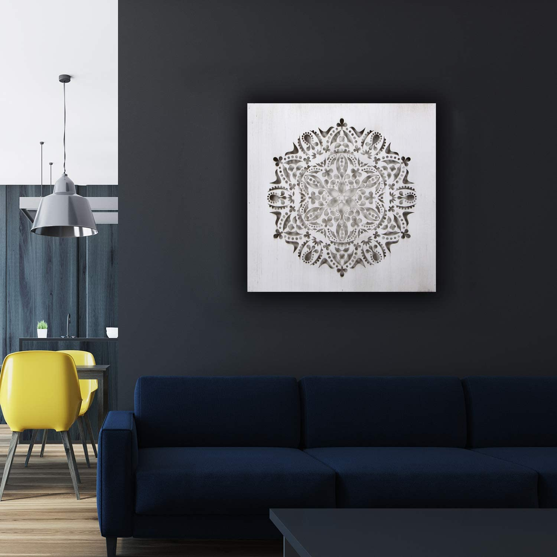 Mandala 3D Cuadrada Pintada a Mano Blanco Envejecido, 30 x 30 m Modelo Mosaico 122 Fabricada artesanalmente en Espa/ña Cuadro Mandala de Pared Calada