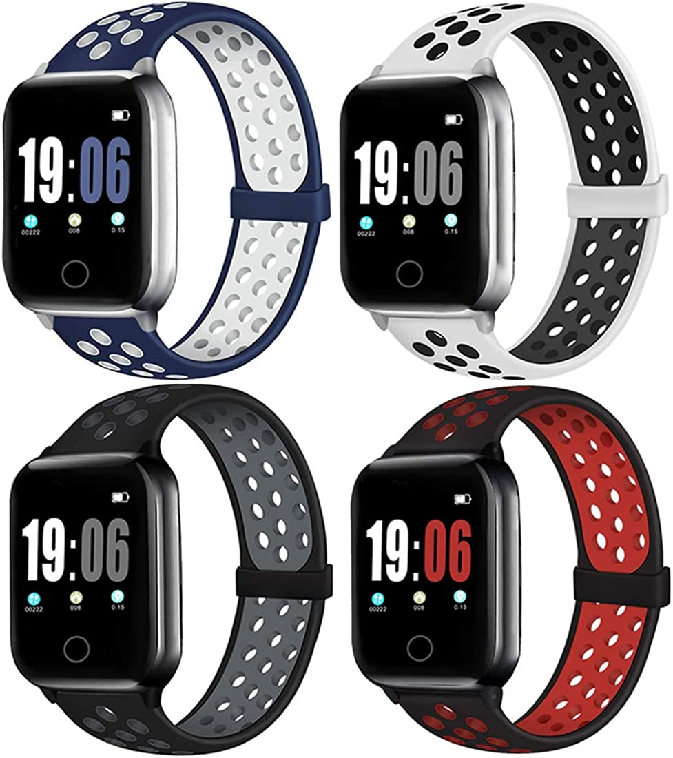 4PACK Sport Band Compatible with Watch Bands 38mm 40mm 42mm 44mm Women Men, Breathable Silicone Replacement Strap Wristband Compatible for Watch Series SE/6/5/4/3/2/1 All Various Styles, S/M M/L