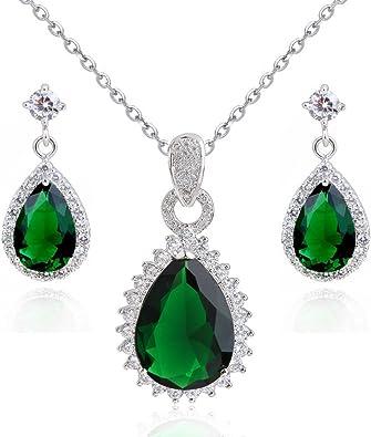 Halsketten Anhänger Kristall Tropfen Anhänger in Tropfenform Olivgrün