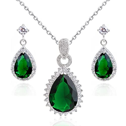 Teardrops Dangle Earrings with Green Simulated Emerald Zirconia Crystals18 ct Gold Plated for Women ZvTINSy5