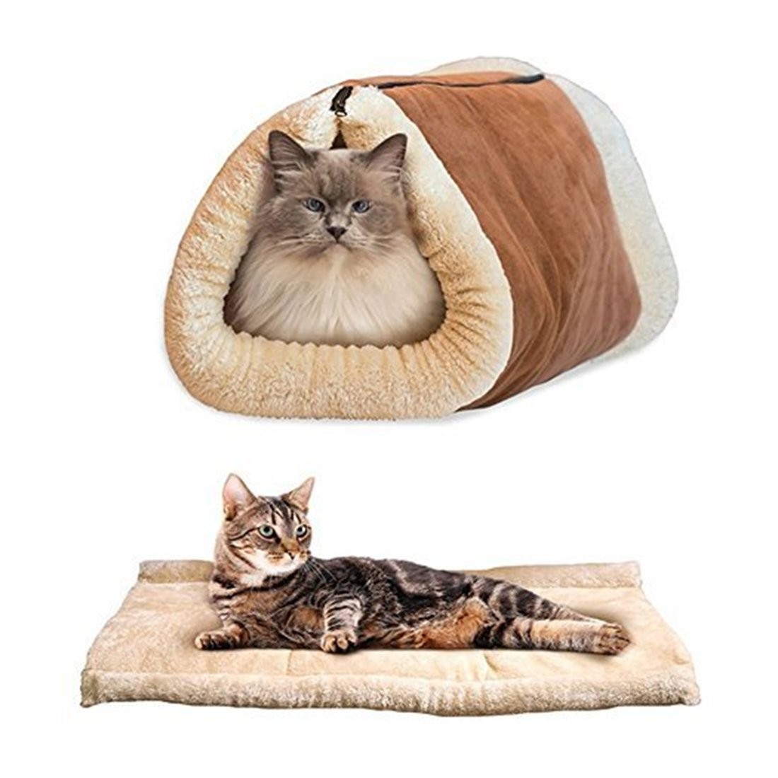 Cat Cave Beds Sleeping Mats House Covers 2 in 1 Pet Shack Brown none B01NBFPTQN
