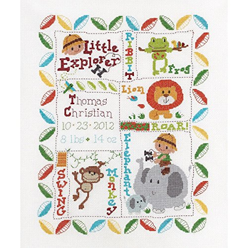 Bucilla Counted Cross Stitch Birth Record Kit, 10 by 13-Inch, 45716 Little Explorer