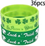 St. Patrick's Day Shamrock Rubber Wristbands Bracelets - Party Favors Supplies Gifts Decorations