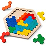 D-FantiX 木製パズル脳の体操玩具、14個のカラフルな六角形楽しい幾何学ロジックタングラムパズルテーブルIQゲームモンテッソーリ子供用教育玩具