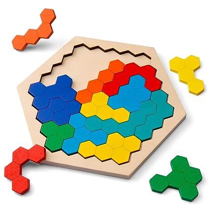 D Fantix 木製パズル脳の体操玩具14個のカラフルな六角形楽しい幾何学ロジックタングラムパズルテーブルiqゲームモンテッソーリ子供用教育玩具