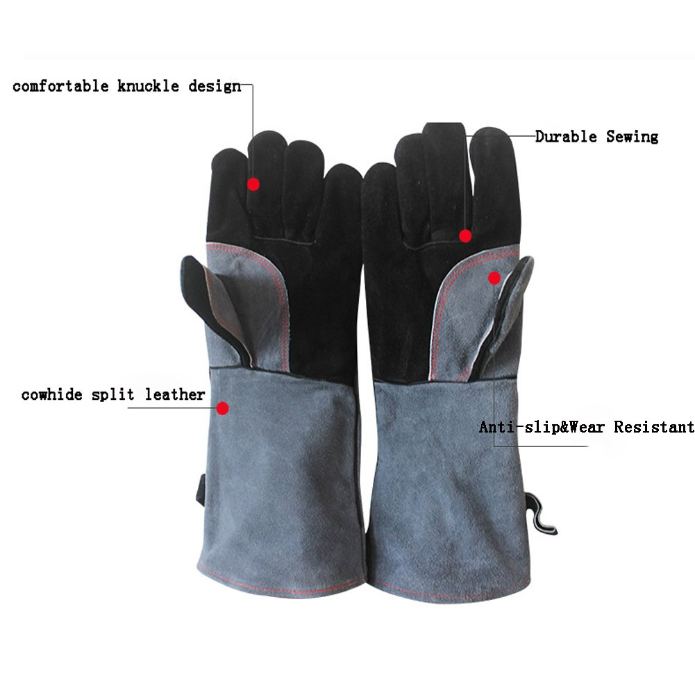 ChengYi Cowhide Leather Welding Glove BBQ Grill Gloves M, Grey Heat Resistant for Tig Welder//Grilling//Barbecue//Mig//Gardening//Wood Stove CYST06