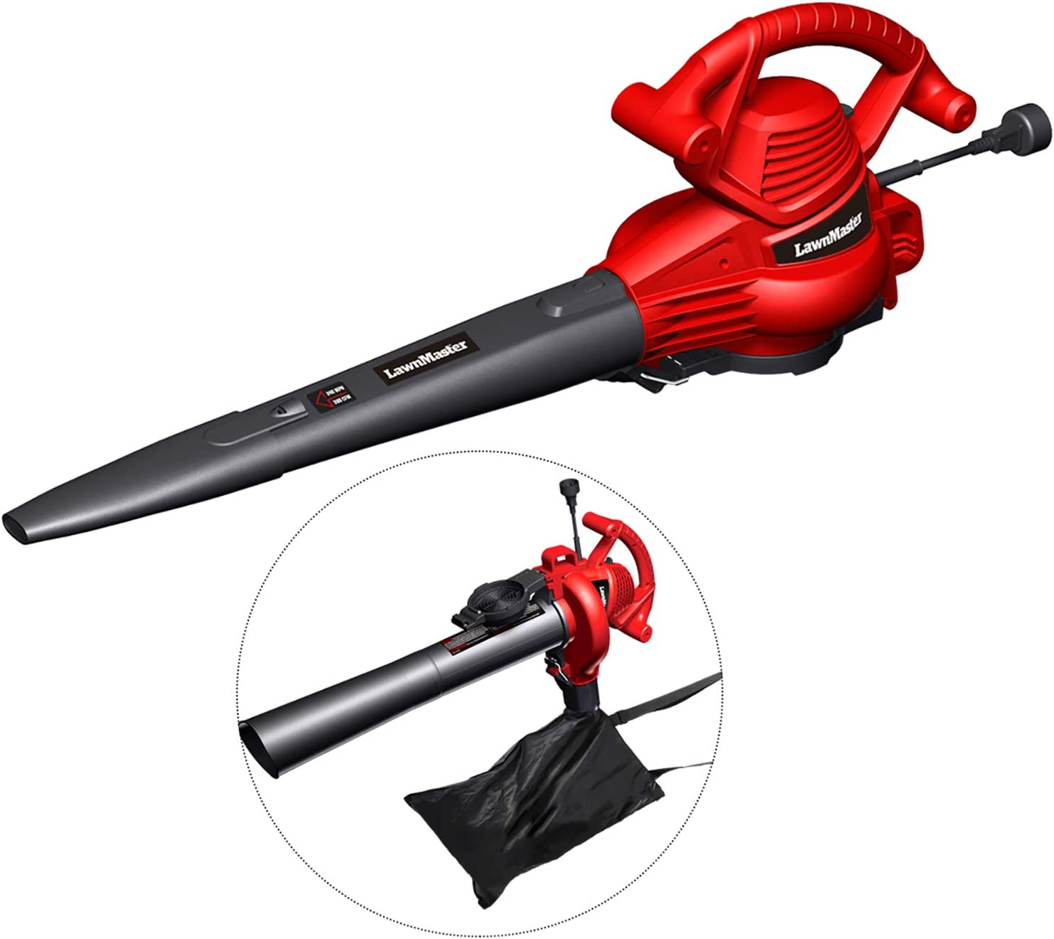 LawnMaster Red Edition BV1210 1201 Electric Blower Vacuum Mulcher