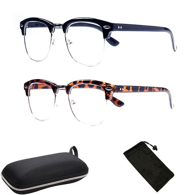 c13604163233 Amazon.com  Retro Half Plastic Wire Men Women Unisex Classic Reading Glasses  Metal Frame  Clothing