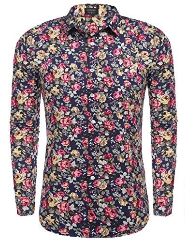Coofandy Men's Floral Cotton Fashion Slim Fit Long Sleeve Casual Button Down Print Shirt Pat3 (Floral Print Cotton Shirt)