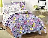 Dream Factory Sweet Butterfly Ultra Soft Microfiber Girls 7 Piece Comforter Set, Purple, Full