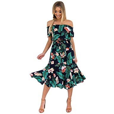 7f5ec27e77f Momola 2018 New Women Maxi Dresses Floral Printed Boho Style Off Shoulder  Summer Casual Party Cocktail Sundress Sexy Beach Dress Green  Amazon.co.uk   ...