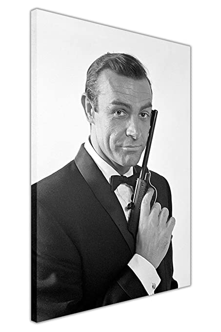 Black and white james bond poster sean connery framed wall art canvas prints movie pictures size