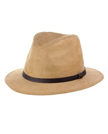 5899badebd1d99 C.C Trendy Faux Suede Fedora Trilby Straight Brim Hat with Band at ...