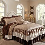 BrylaneHome Genevieve Ruffle Bedspread (Ivory Taupe,Queen)