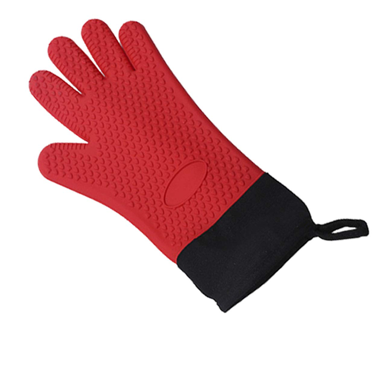 Wallesun Silicone Oven Mitt 1 PC,Heat Resistant Insulated Gloves with Hook and Inner Cotton Lining, Concave Heart Shape Design, Full Finger Waterproof for Cooking BBQ Baking Grilling(Red)