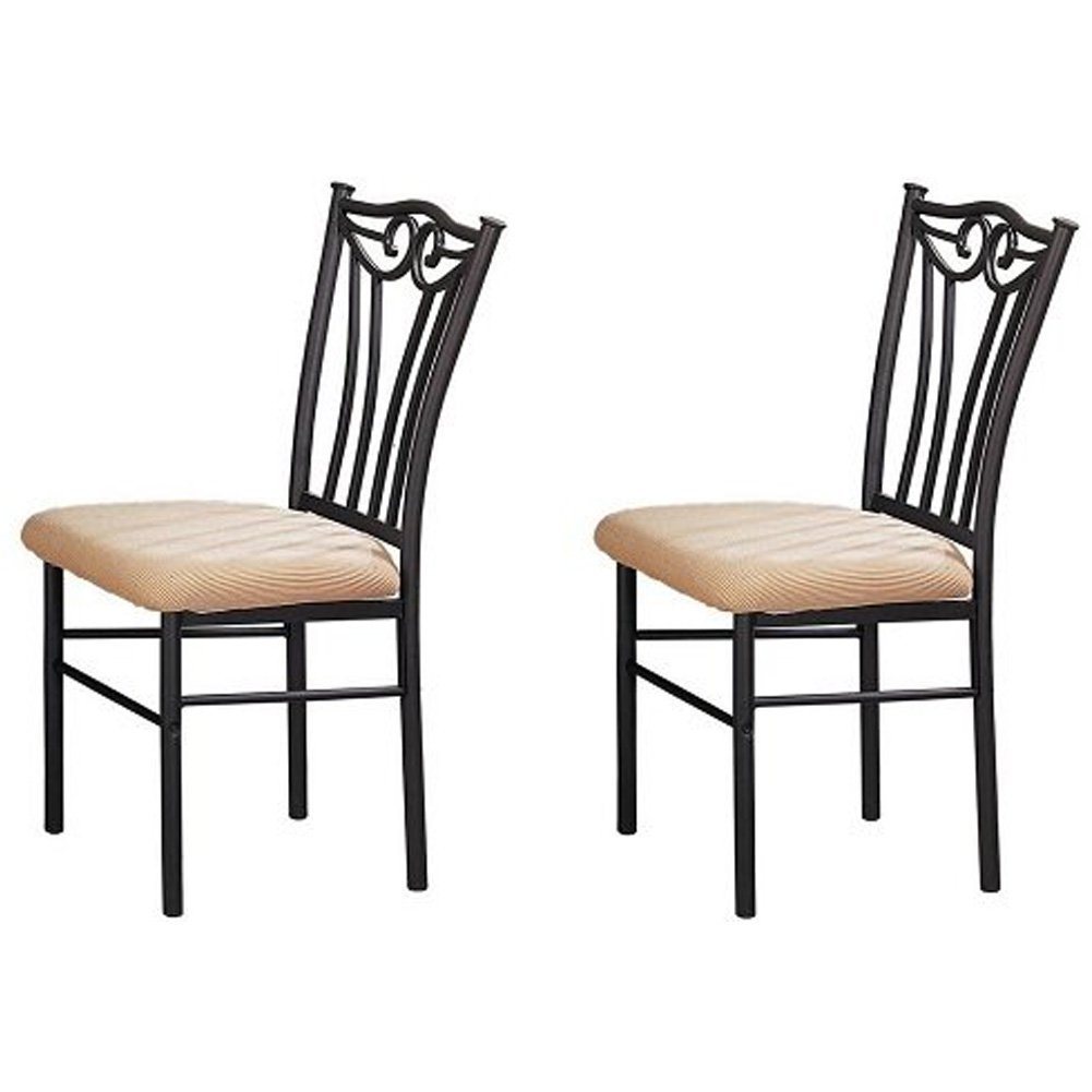 Poundex Shannon Series Dining Chair in Charcoal Iron Finish European Style - Set of 2