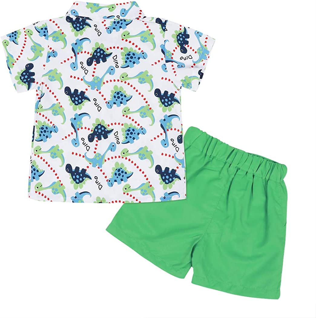 Edjude Toddler Baby Boys Summer Clothes Outfit Gentleman Suit Fashion Short Sleeve Button Shirt Shorts Set 2 Piece Outfits for Age 1-7 Years