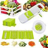 ROKOO Mandoline Slicer, 5 Adjustable Blades Slices and Shreds Fruits and Vegetables Chopper, Food Container, Safety Food Holder, All-in-One Vegetable Slicer