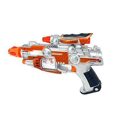 P&F Electronic Super Space Gun Toy Led Flashing Lights with Realistic Gun Sound - 10 Inches: Toys & Games