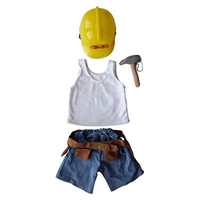 """Construction Worker Set Outfit Fits Most 14"""" - 18"""" Build-a-Bear and Make Your Own Stuffed Animals: Toys & Games"""