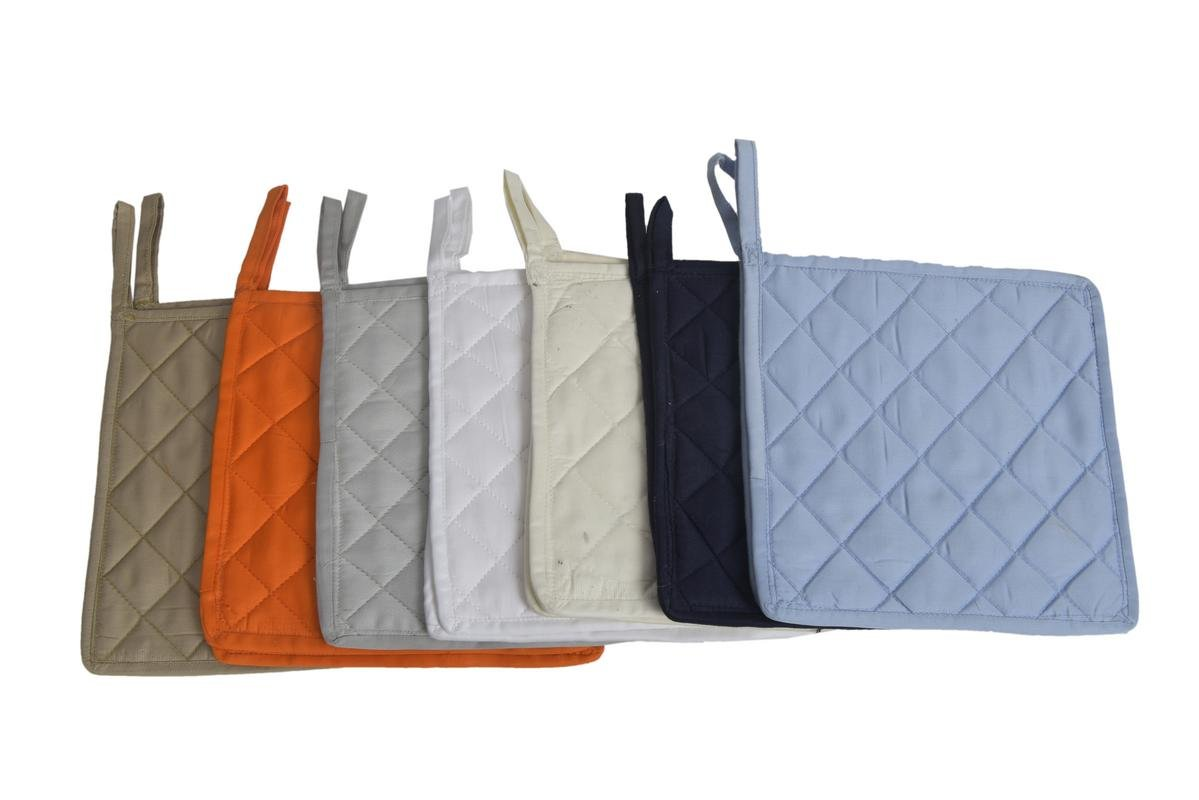 Well-made of durable and comfortable 100% cotton 9'' x 9'' Inches Pot Holder Non-Slip & Highest Protection & Performance '' Color - (Multi 7 Colors) '' - { Pack of 70 } - Made By HM Covers