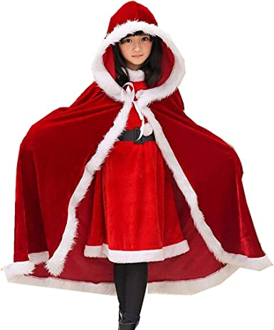 Kids Boy Girl Child Christmas Costume Santa Hooded Cloak Cape Cappa Cosplay-Robe