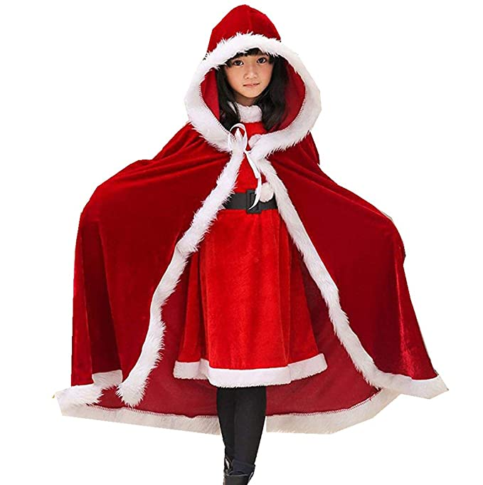 7583dc330 Amazon.com: 2019 Mrs Claus Costume Red Christmas Cape for Women Adult  Christmas Cloak: Clothing