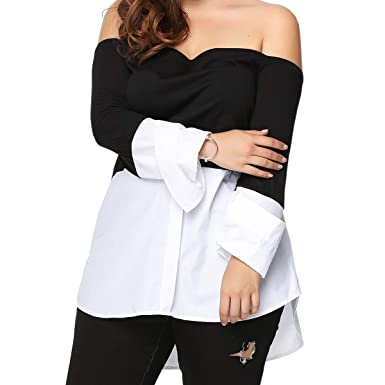 ed883752609 Yii ouneey Women Plus Size Tops Fall Off Shoulder Casual Long Sleeve Loose  Blouses Shirts Sexy Tunic Tops at Amazon Women's Clothing store: