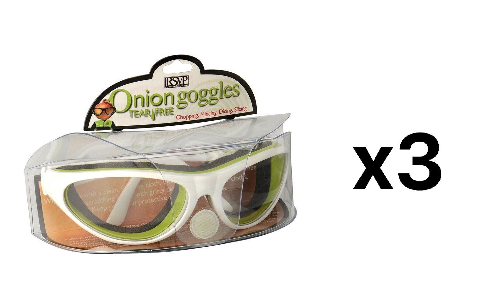 RSVP Onion Goggles w/Case Tear Free Anti Fog Cutting Chopping WHITE (3-Pack)