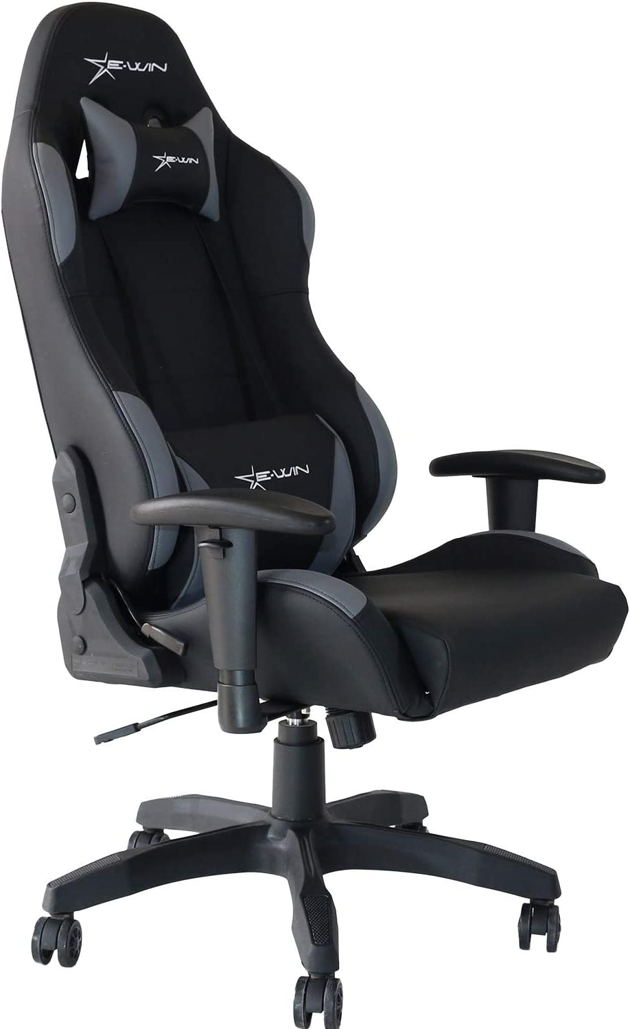 E-WIN Gaming Racing Chair 330lb Adjustable Tilt Back Angle and Armrests Ergonomic High-Back Leather Executive Computer Desk Office Chair Calling Series Black Grey