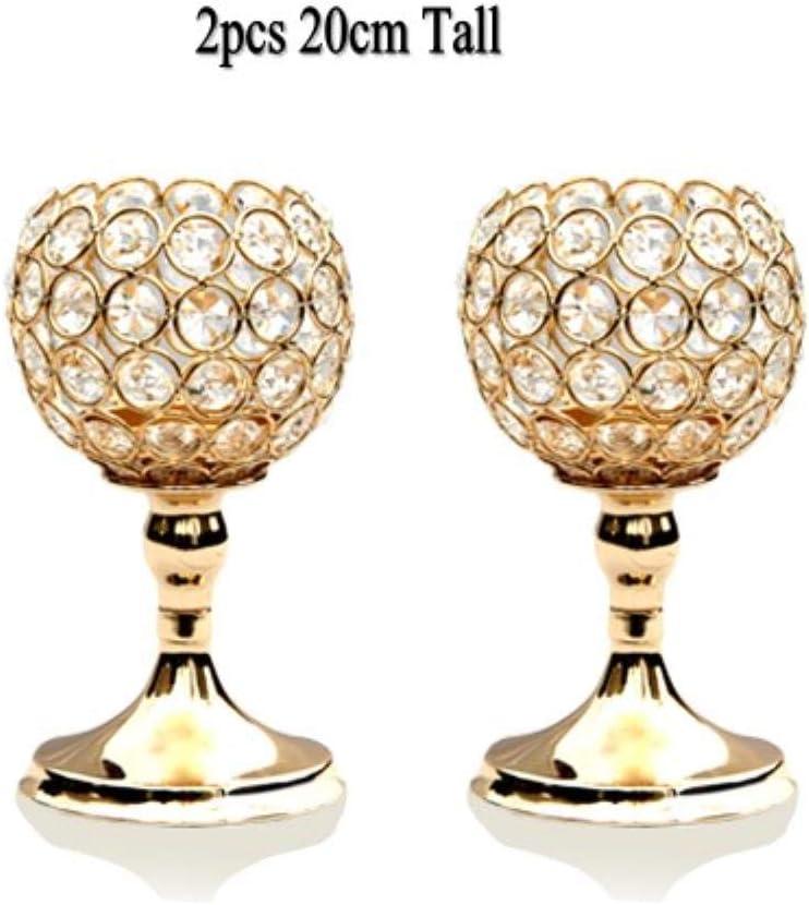 WDDqzf Glass Pillar Tealight Candeleros Candelabros De Cristal Regalos del Día del Padre Decoración De Bodas para El Hogar Regalo De Inauguración, Tazón De Oro 2020