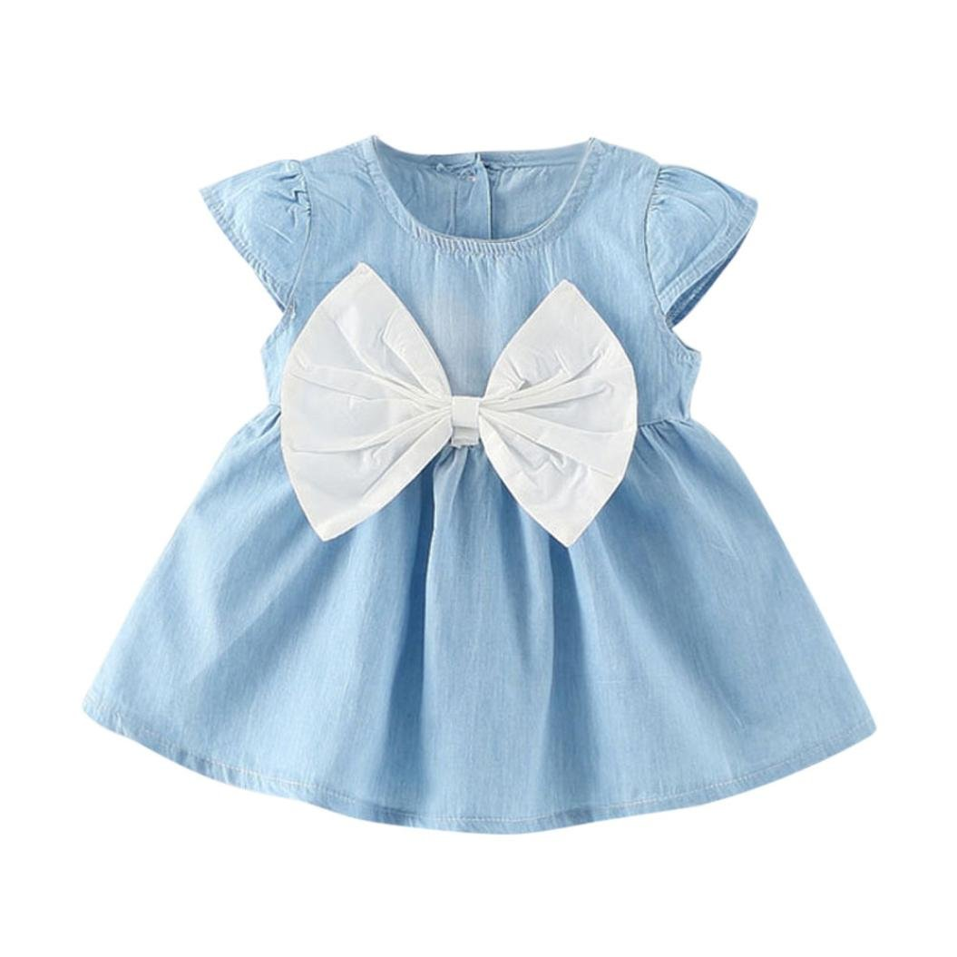 Jarsh Toddler Baby Girls Cute Short Sleeve Denim Clothes Dress with Large Bowknot (White, 0-6Month)
