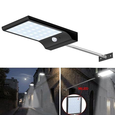 Ajusen Lámpara Solar Focos Exterior 36 LED ,Abask con Sensor de Movimiento, Luz Solar