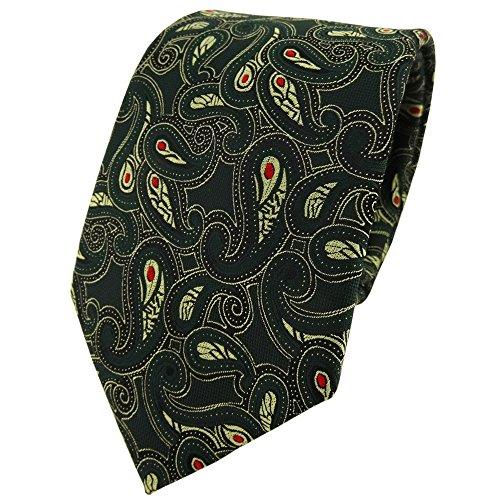 TigerTie Designer cravate en vert sapin doré rouge noir Paisley à motifs